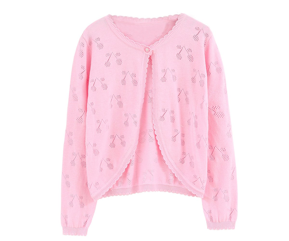 SMILING PINKER Little Girls' Long Sleeve Shrug Sweaters Knit Bolero Cardigan (3-4t, Pink) by SMILING PINKER