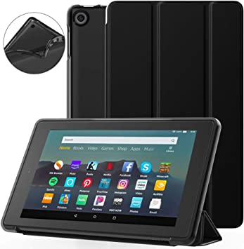 Amazon Com Dadanism All New Amazon Kindle Fire 7 Tablet Case 9th Generation 2019 Release Flexible Tpu Translucent Back Shell Ultra Slim Lightweight Trifold Stand Cover With Auto Sleep Wake Black Electronics