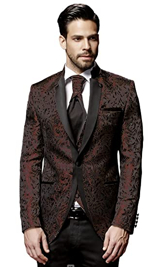 ed7941067ad PABLO CASSINI Men Suit - 8 pieces - Wine Red Black Designer Wedding Suit  groom TOP OFFER PC 19BOR  Amazon.co.uk  Clothing