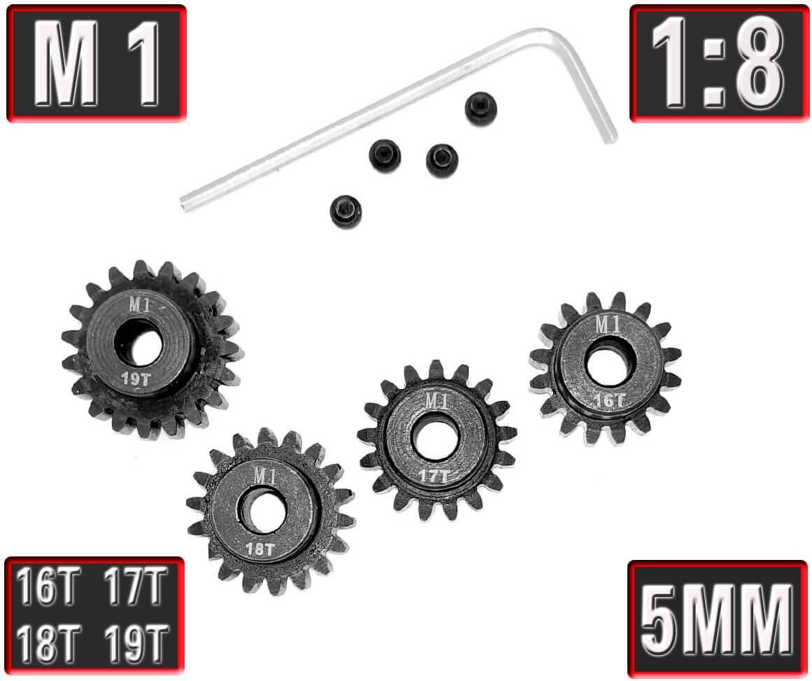 B07FBWPB3B MakerDoIt Mod 1 Pinion Gear 5mm Set Hardened 16T 17T 18T 19T, 4pcs Mod1 M1 Pitch Gears RC Upgrade Part with Screwdriver 612aZtXRutL