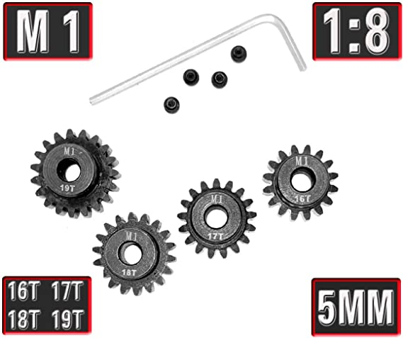 M1 5mm 15T 16T 17T 18T 19T Pinion Motor Gear Combo Kit for 1//8 RC Car Motor P5