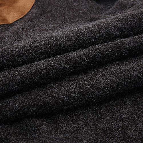 Sólida Hacen Otoño Punto Ropa Los Elegantes De Larga Que Invierno Ocasionales Superiores Manga Hombres Del Gris Más Suéteres Suéter Pullovers Oscuro La Terciopelo Camisetas Eqzw6x