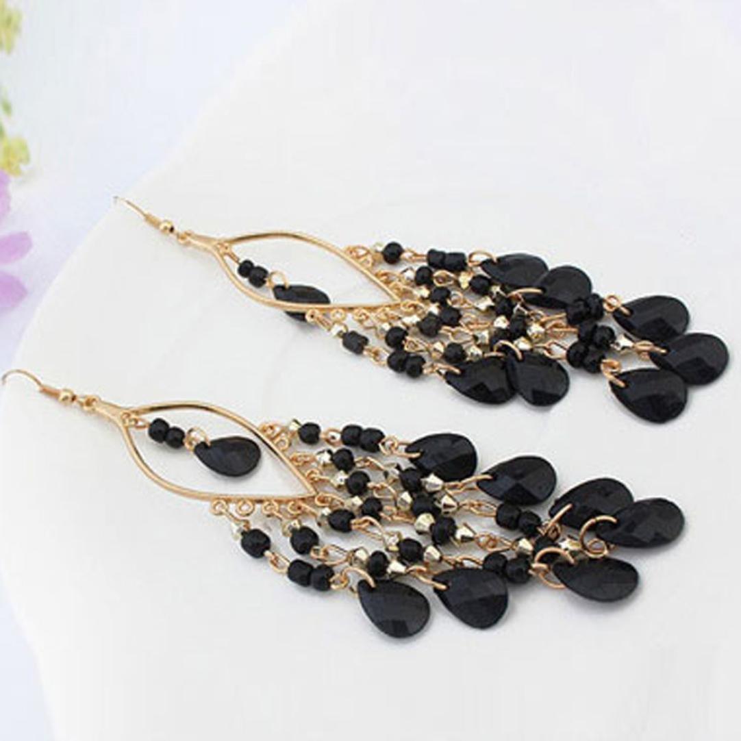 Multicolor FAPIZI Clearance Deals Earrings Hot Sale 1Pair Women Tassels Earrings Charm Bohemian Colorful Beads Ear Drops Dangle
