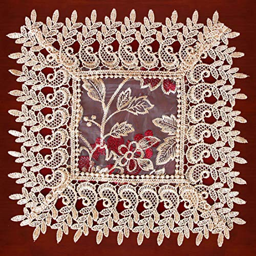 Grelucgo Beige Lace Table Doilies Square 12×12 Inches Set of 4 (Lace Square Doilies)