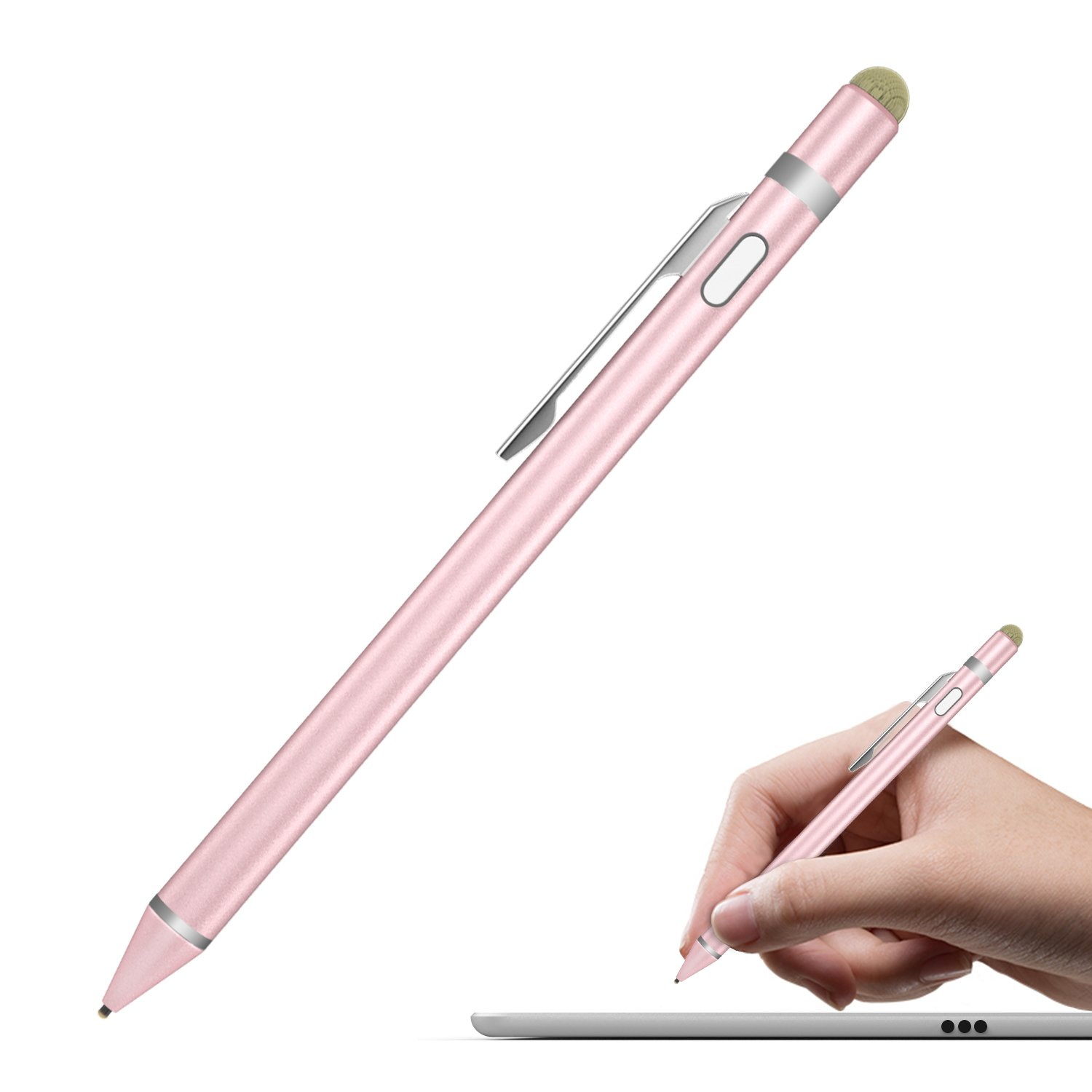 MoKo Universal Active Stylus, 2 in 1 High Precision Sensitivity 1.5mm Capacitive Pen, Metal Stylus Pen for Touch Screen Devices Smartphones & Tablets (iPad, iPhone X/8/8 Plus, Samsung etc.)- Rose Gold