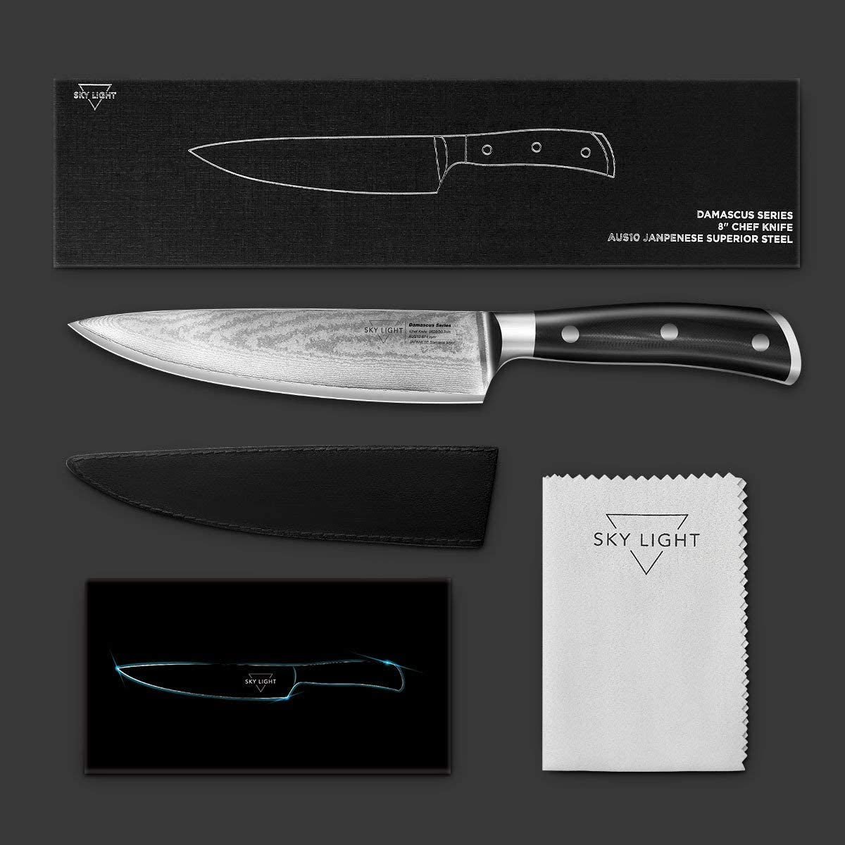 Damascus Santoku Chef Knife, Damascus Santoku Knife 67-layer Handmade 7-inch, Full Japanese AUS10V High Carbon Stainless Steel w/Sheath/Gift Box Included Damasucs Chef Knife