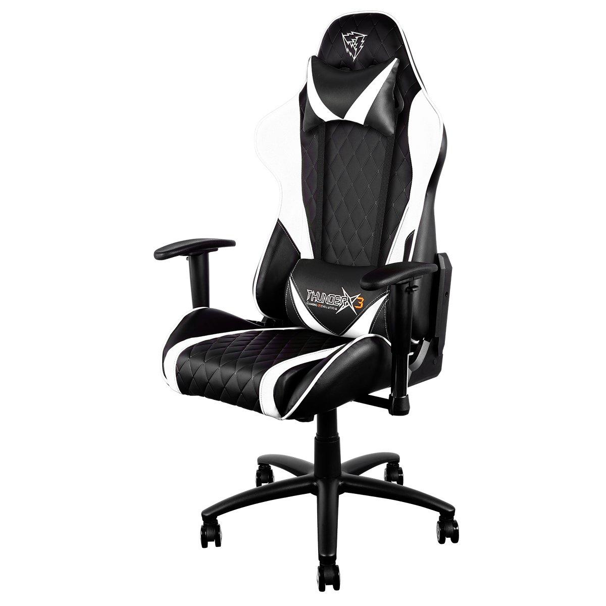 Thunder X3 Aerocool tgc15 Pro Gaming Chair con Cuello Almohada, Funda de Piel sintética, Negro/Blanco: Amazon.es: Hogar