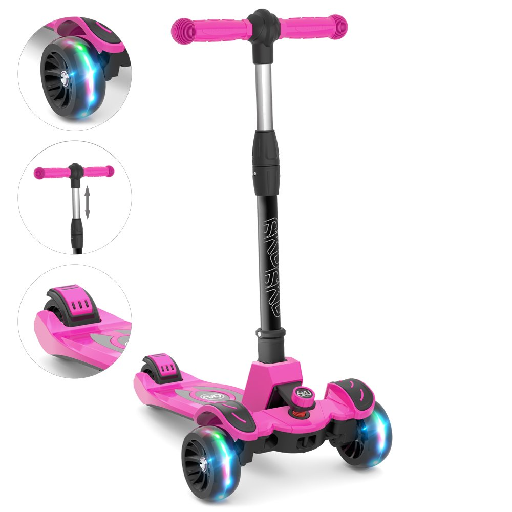 6KU Kids Kick Scooter with Adjustable Height, Lean to Steer, Flashing Wheels for Children 3-8 Years Old Pink by 6KU (Image #2)