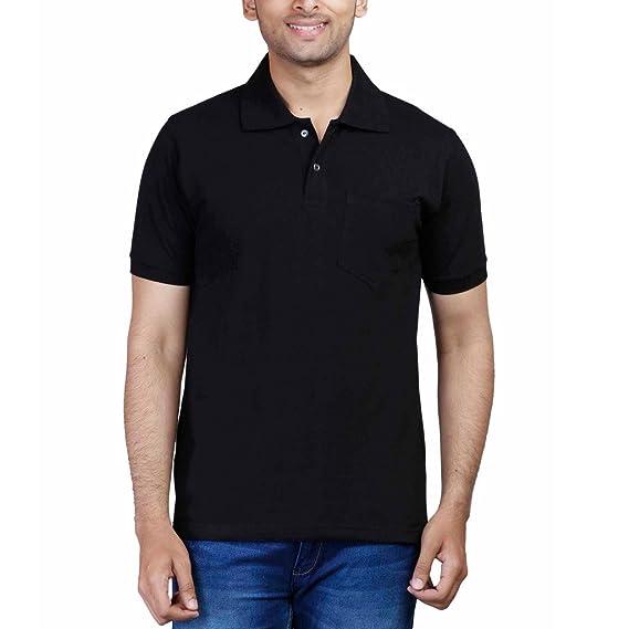 bel design nuovi speciali risparmia fino all'80% Buy FLEXIMAA Men's Cotton Polo Collar T-Shirt with Pocket Black ...