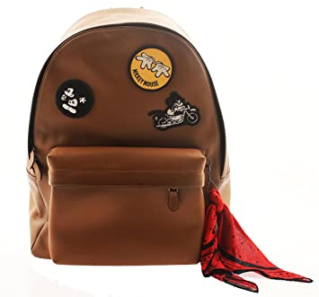 ff396a262be4 COACH Mickey Mouse Leather Backpack in Patchwork Saddle