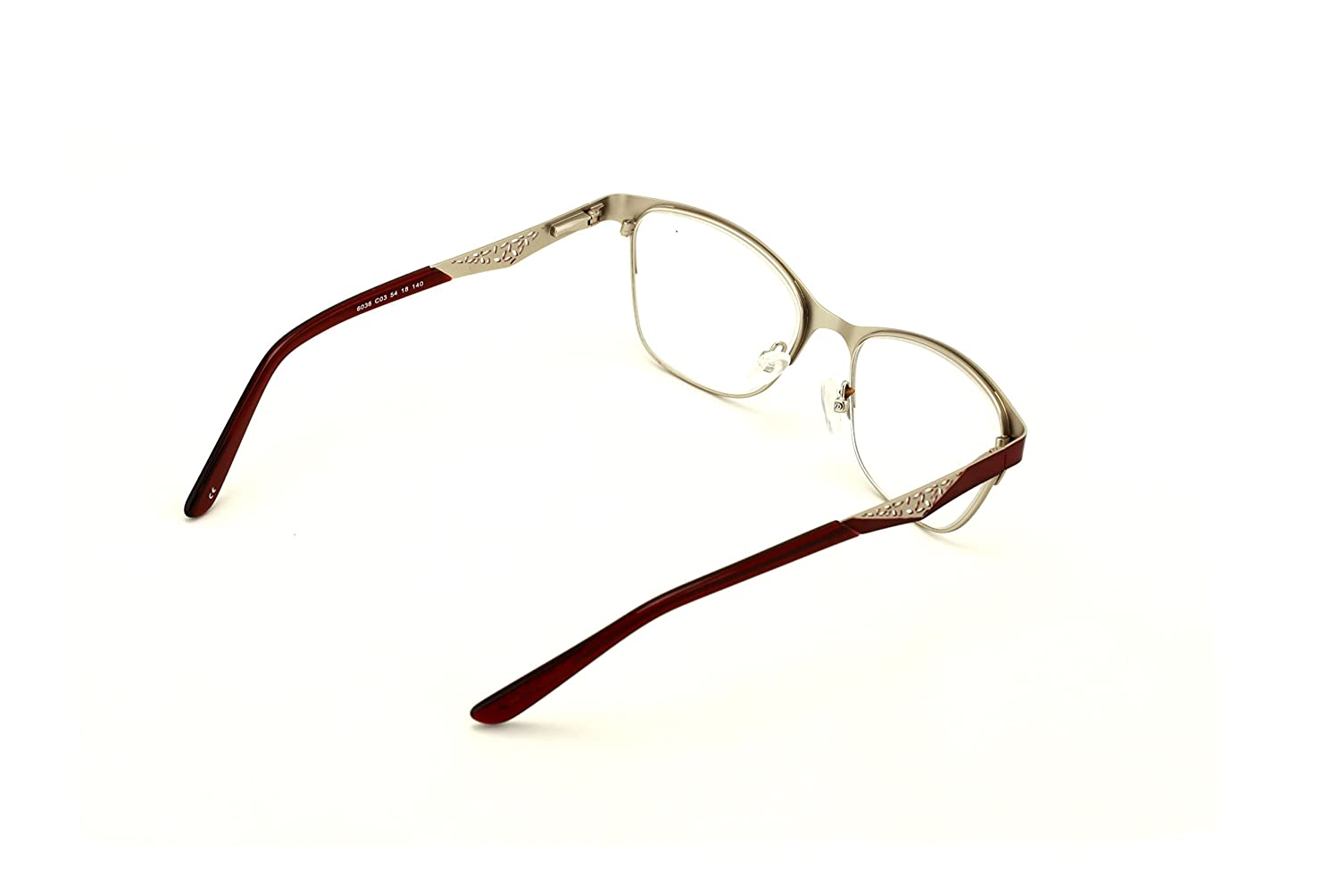f240cc27ca Amazon.com  Women Fashion Stainless Steel Non-prescription Glasses Frame  Clear Lens Metal Eyeglasses - Wide Fitment (Maroon)  Clothing