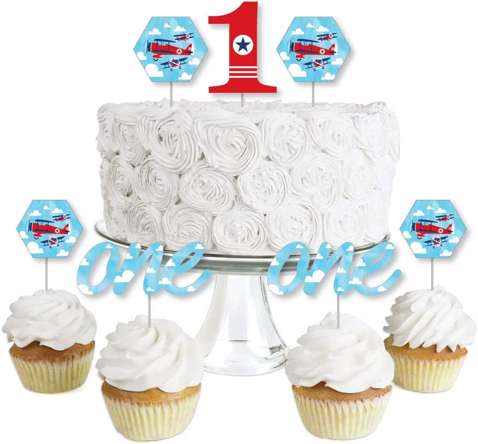 1st Birthday Taking Flight - Airplane - Dessert Cupcake Toppers - Vintage Plane First Birthday Party Clear Treat Picks - Set of 24