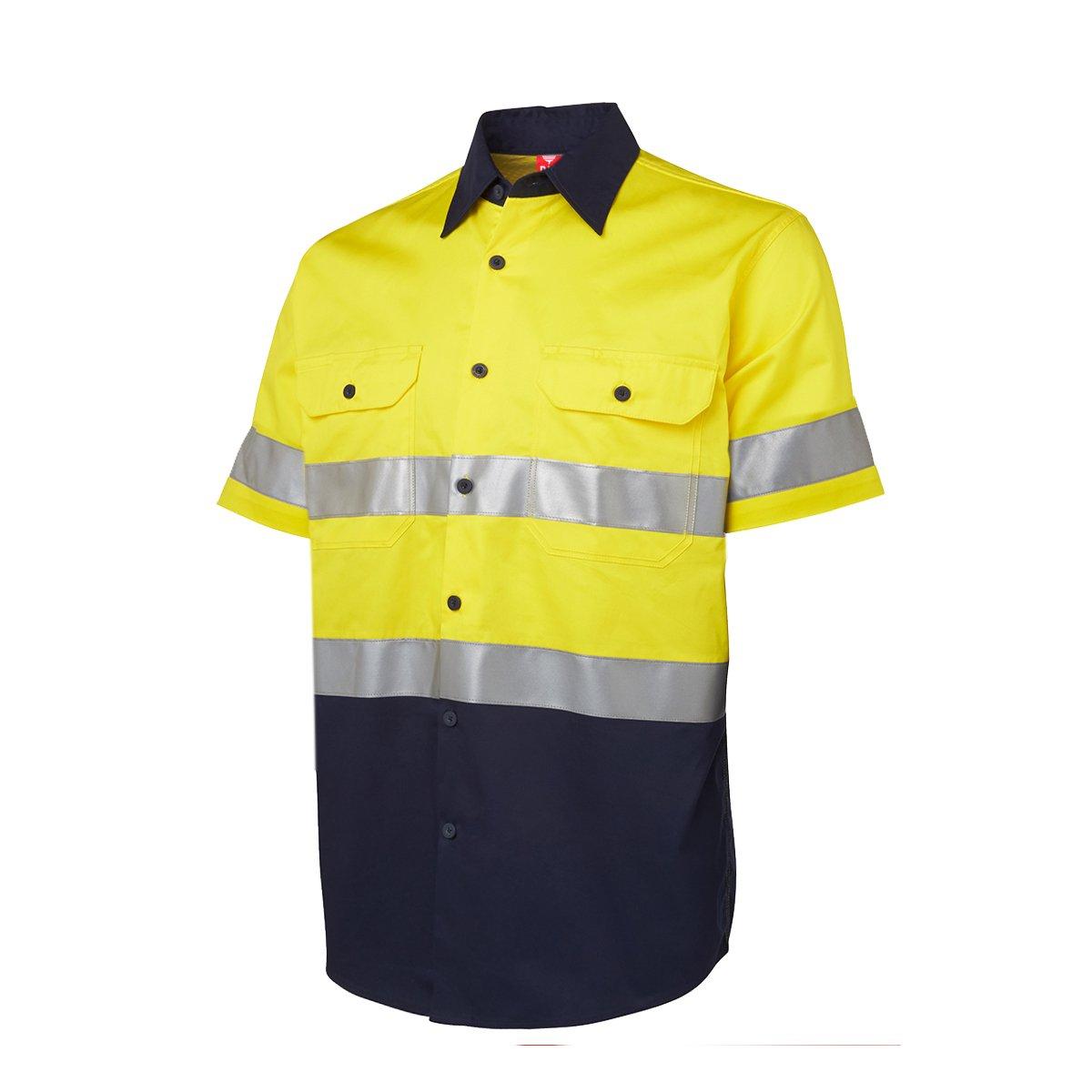 1 x Hi Vis安全コットンドリルシャツWork Wear半袖反射テープ B0713MVTZP 3L|イエロー/ネイビー イエロー/ネイビー 3L