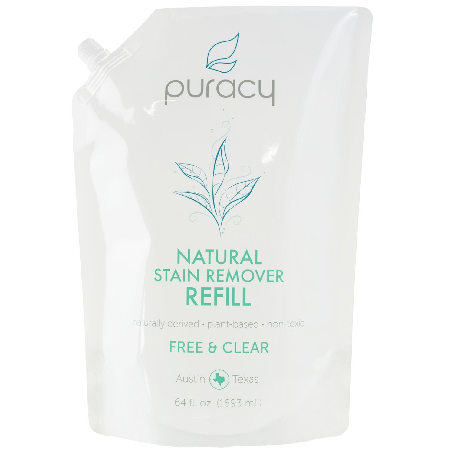 Puracy Natural Laundry Stain Remover Refill, [64 Oz], 6-Enzyme Formula Eliminates Spots and Odors, Pre-Treat Thousands of Fabrics, Free and Clear, 64 Fluid Ounce Pouch