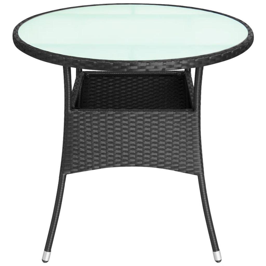 Saideke Home Outdoor Table Glass Top Poly Rattan 31.5''x29'' Black Patio Backyard Side Stand