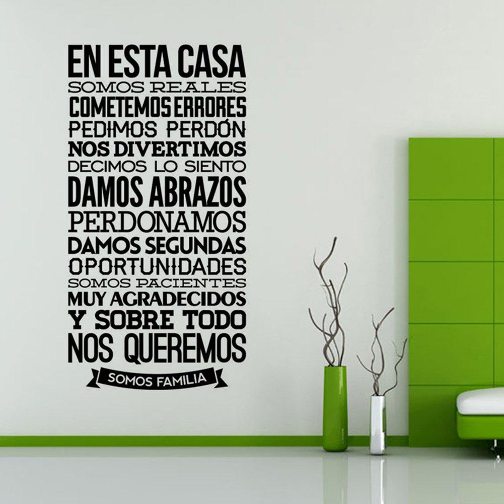 Vinilo Pared Letras Grande 50x97 Cm, Pegatina Pared Decoración Frases, En Esta Casa,Somos Familia DIY Arte Mural Fácilmente Extraíble Vinilo Pared Hogar ...