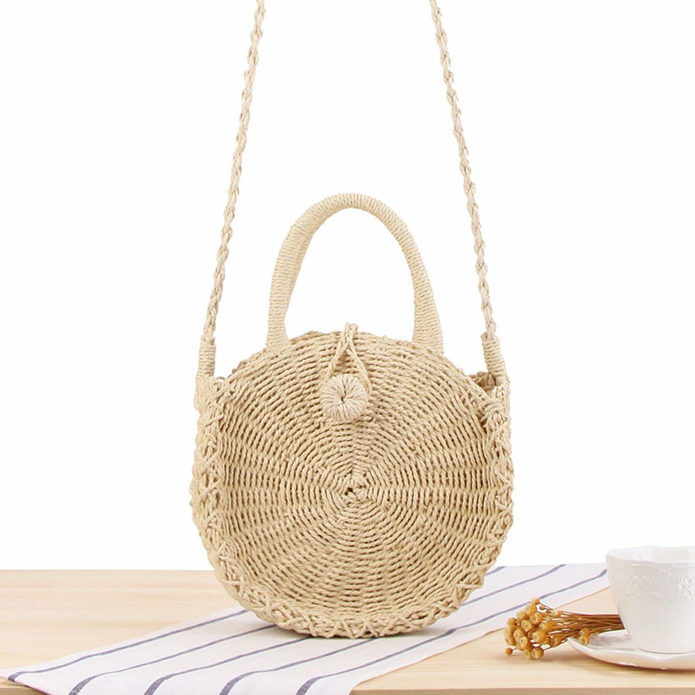 Straw Handbags for Women Beach Large Shoulder Summer Top Handle Crossbody Round Purse Ladies Woven Rattan Fashion Crochet Small Beige with Buckle style 1