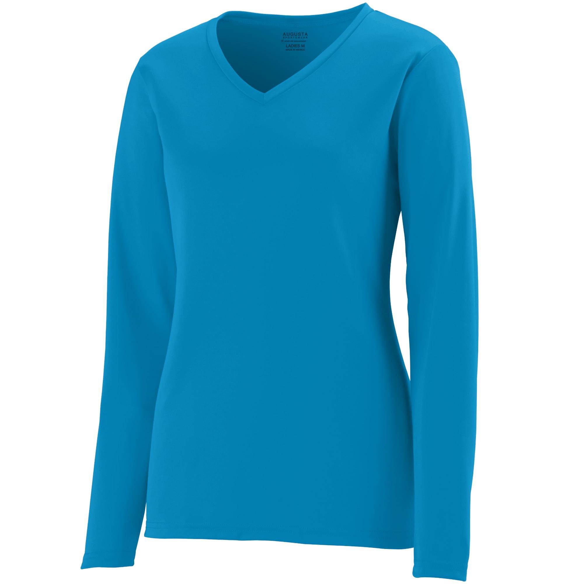 Augusta Sportswear Womens Long Sleeve Wicking T-Shirt, Power Blue, 3X-Large