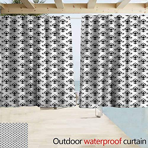 Beihai1Sun Outdoor Patio Curtains Fleur De Lis Abstract Flora Drapes for Outdoor Decor W72x45L Inches