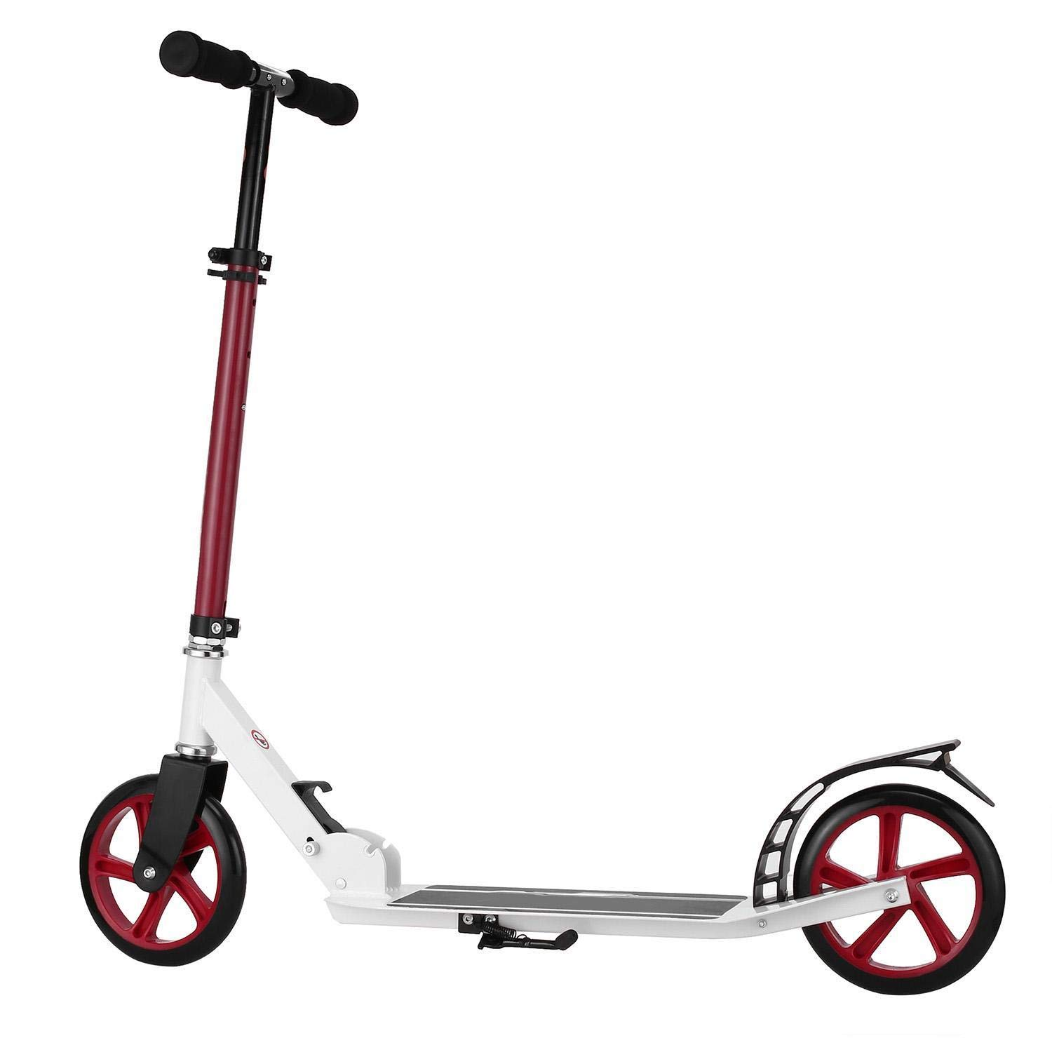 Cosway Folding Kick Scooter, New Aluminum Alloy 2 Wheel Adjustable Height Scooter for Adult Teen Deluxe Glider, with Kickstand, 220lbs Capacity