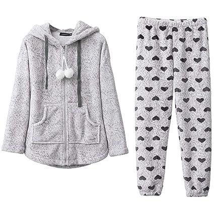 Pijamas Winter Flannel Sweet Cute Ladies Grueso Caliente HUXIUPING (Color : Gray, Tamaño :