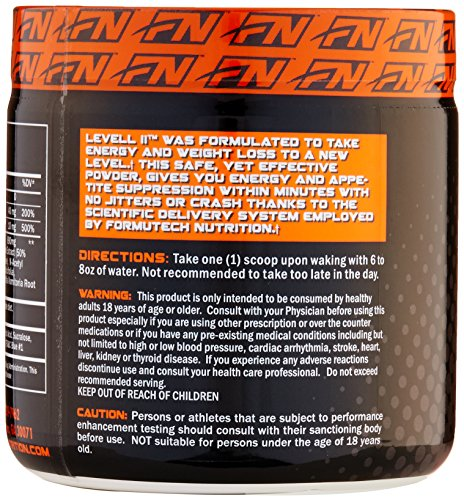 Formutech Nutrition Level II Super Thermogenic, Clean Energy Pre Workout Fat Burner with Appetite Suppression, Grape, 50 Servings
