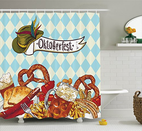Ambesonne Festival Decorations Collection, Bread Pretzel Carnival Partying Germany Costume Cheerful Festival Illustration, Polyester Fabric Bathroom Shower Curtain Set with Hooks, Brown Blue