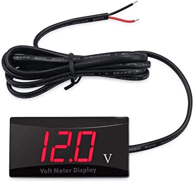Red DEALPEAK Mini Waterproof Car Digital Voltmeter LED Panel Volt Voltage Meter with LCD Display DC 12V for Car Motorcycle