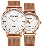 Couple Watch Men Women Stainless Steel Rose Gold Mesh Strap Waterproof Watches Gift of 2 (White)