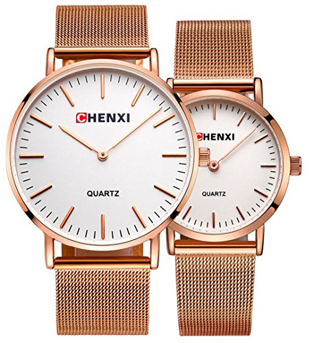 Couple Watch Men Women Stainless Steel Rose Gold Mesh Strap Waterproof Watches Gift of 2 (White) by MASTOP