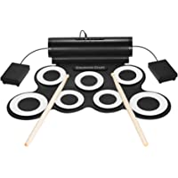 Mainstayae Portable Digital Stereo Electronic Drum Set 7 Silicon Pads USB Powered Built-in Speaker with Drumsticks Foot Pedals 3.5mm Audio Cable for Practice Beginners Kids
