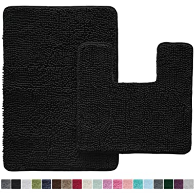 Gorilla Grip Original Shaggy Chenille 2 Piece Bath Rug Set, Includes Square U-Shape Contoured Toilet Mat & 30x20 Carpet Rug, Machine Wash/Dry Mats, Plush Sets for Tub Shower & Bathroom, Black