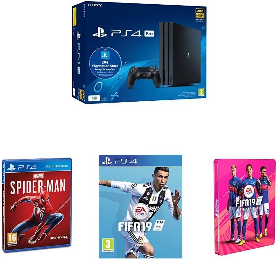 Playstation 4 Pro (PS4) - Consola de 1TB + 20 euros Tarjeta Prepago (Edición Exclusiva Amazon) - nuevo chasis G + Marvel´s Spiderman + FIFA 19 Edición Estándar + Steelbook (Edición Exclusiva): Amazon.es: Videojuegos