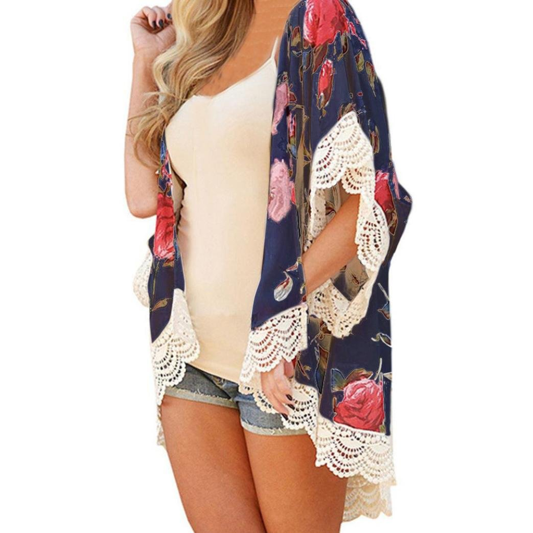 Women Summer Kimono Flare Sleeve Floral Print Cardigan Cover up Tops Shawl