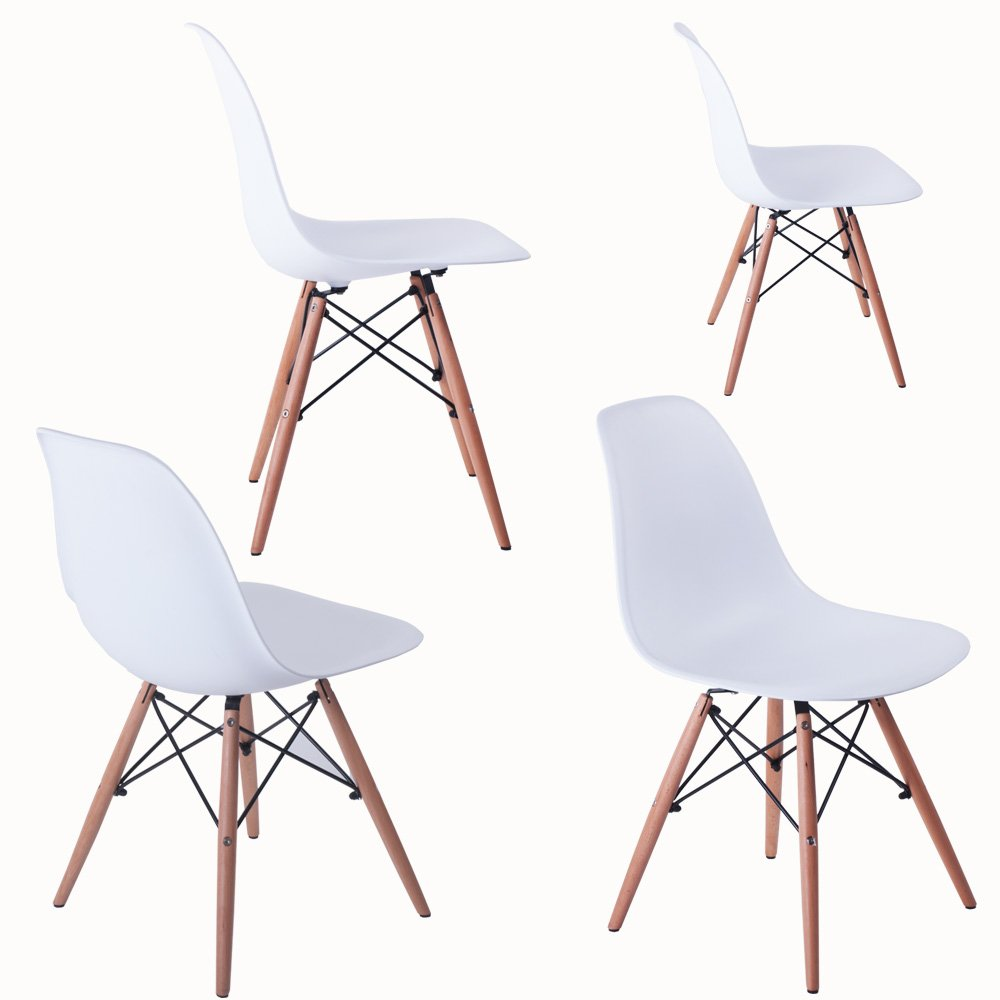 BTM Dining Chairs Retro Designer Style Eiffel Lounge Dining Chair X8  (White): Amazon.co.uk: Kitchen U0026 Home
