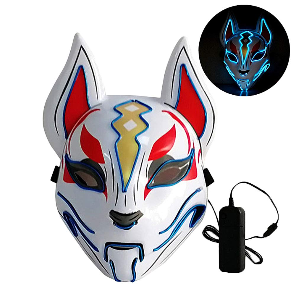 L'VOW Glowing Fox Drift Mask Headgear LED Light Up Masks for Party Cosplay Halloween Costume Props (Blue)