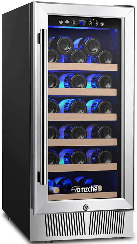 "AMZCHEF 15"" Wine Cooler Refrigerator Built in or Freestanding Wine Cooler, Quiet, Constant Temperature & Energy Efficient"