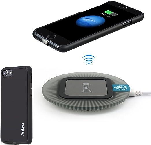 Antye Qi Kit de chargeur sans fil pour iPhone 7 Plus, 2 en 1, avec chargeur sans fil compatible avec le sommeil et la coque arrière Qi sans fil Noir