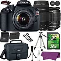 Canon EOS Rebel T5 DSLR Camera with Canon EF-S 18-55mm IS Lens + Canon EF 75-300mm III Lens + 32GB SD Memory Card + Canon Bag + Cleaning Kit + Tripod Advantages Review Image