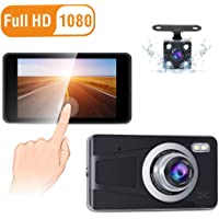 """CREUSA® Dash Cam, 4"""" IPS Touch Screen Full HD 1080p Resolution Dash Camera for Car with 170° Wide Angle, Super Night Vision, G-Sensor, Parking Monitor, Loop Recording and Motion Detection (Black)"""
