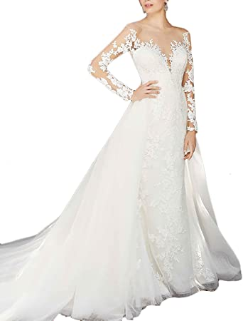Lace Mermaid Wedding Dresses White V Neck Casamento Maxidress Long Sleeves With Train Bridal Gown For Women Wd242 Wthie Custom Size At Amazon Women S Clothing Store