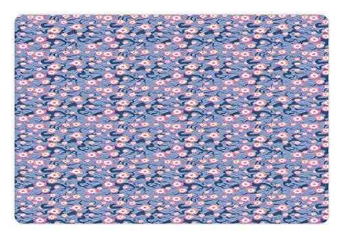 Ambesonne Cherry Blossom Pet Mat for Food and Water, Art Deco Fish Scale Pattern Cherry Flowers and Climbing Bean Plant, Rectangle Non-Slip Rubber Mat for Dogs and Cats, Pink and Violet Blue