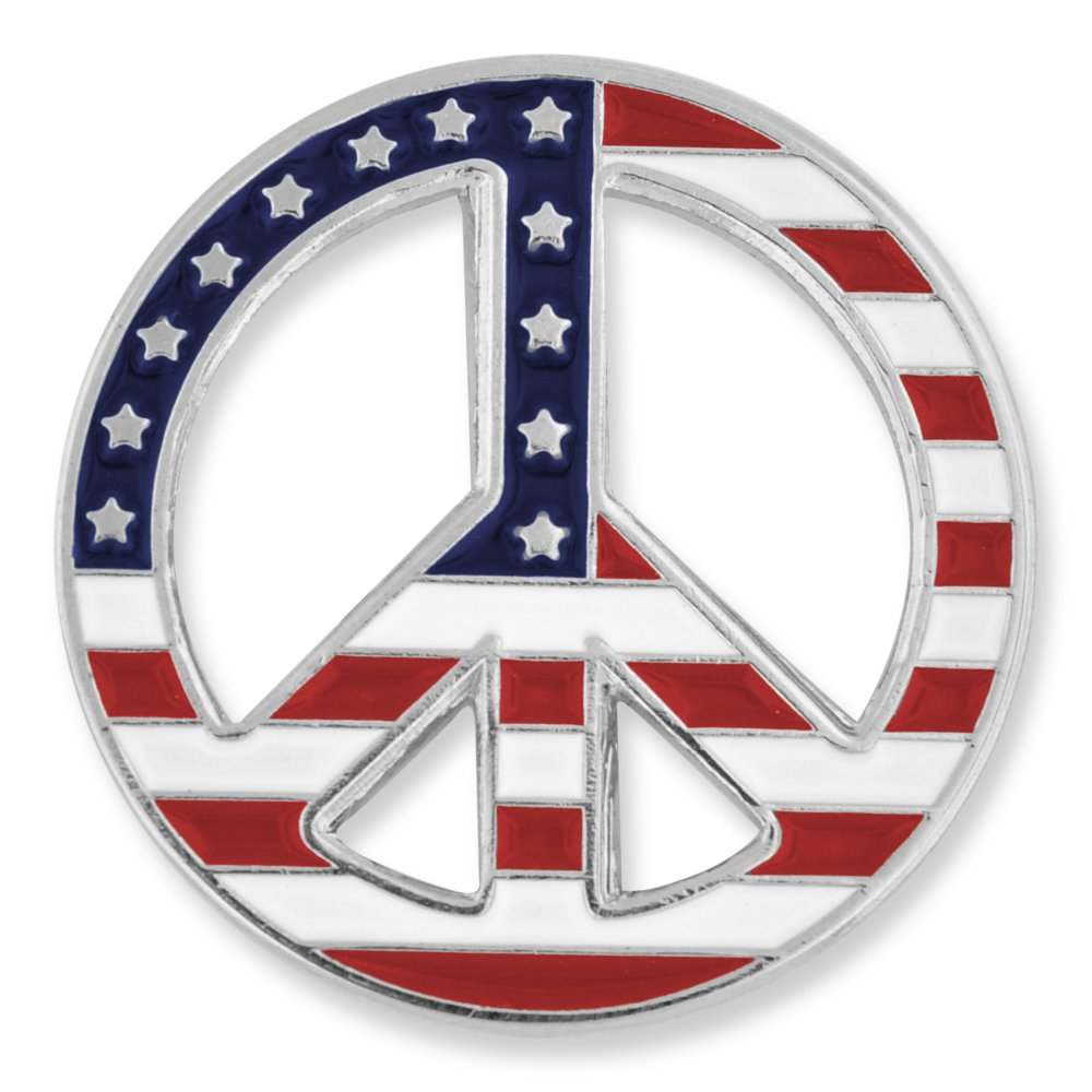 PinMart's American Flag Peace Sign Patriotic Enamel Lapel Pin