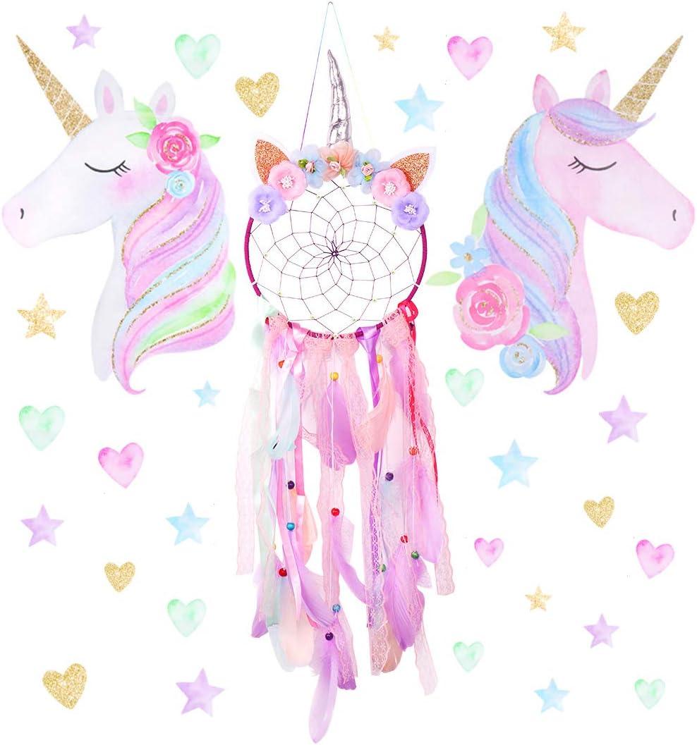 Free Yoka Unicorn Dream Catcher and Unicorn Decals Wall Stickers Kit for Girls Bedroom Hanging Decoration Dreamcatcher Ornament Nursery Baby Room Decor