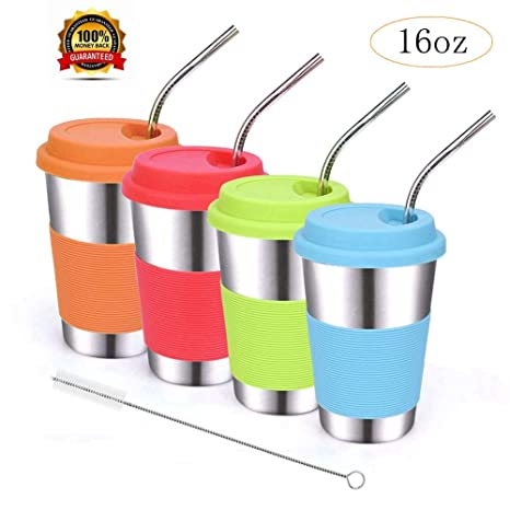 Amazon.com: ShineMe - Vasos de acero inoxidable con tapas de ...