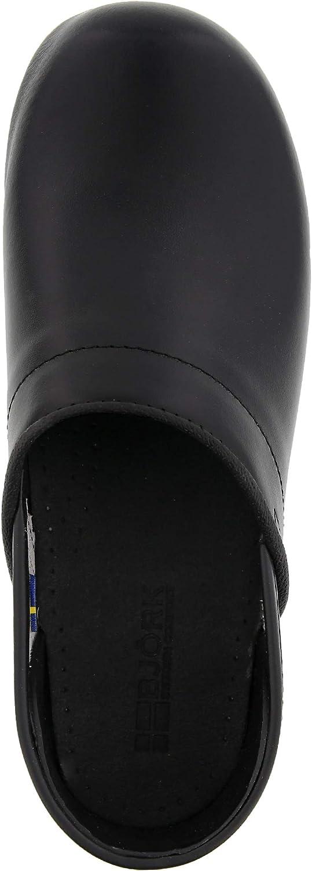 Bjork Karin Swedish Womens Pro Black Smooth Leather Clogs