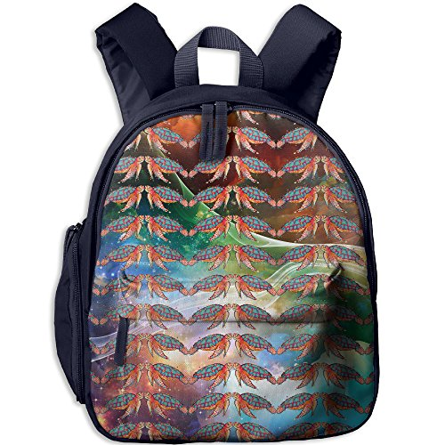 es Kids Printed School Backpack Children Shoulder Bookbag With Front Storage Pocket (Color Back Sea Turtle)