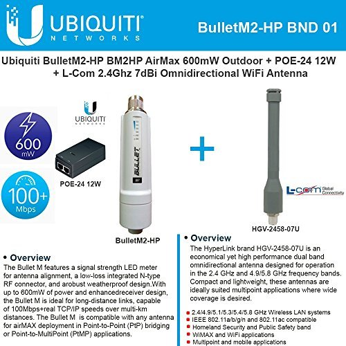 Ubiquiti BulletM2-HP BM2HP 600mW Outdoor + POE-24 12W + 2.4Ghz 7dBi Omni WiFi Antenna by Ubiquiti Networks