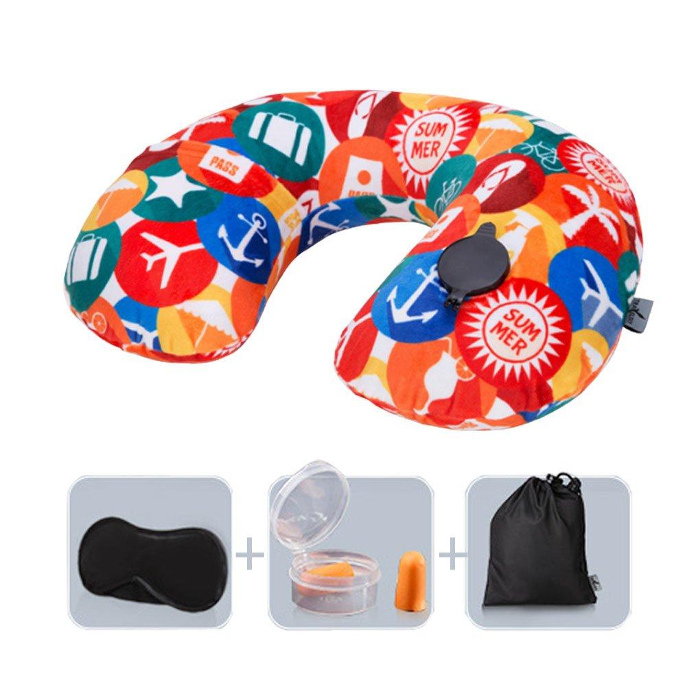 旅行枕、Funhopソフトベルベットpush-buttonインフレータブル旅行首枕アイマスク、耳栓と巾着バッグ Average Size オレンジ B075JD8KYW Journey Flight