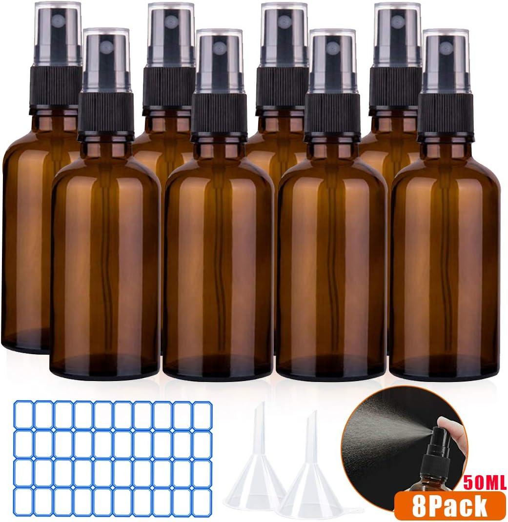 O-Kinee Spray de Vidrio ámbar 8 pcs Botella de Vidrio ámbar Vacía con Pulverizador Negro de Niebla Fina Vacía para Aromaterapia,Primeros Auxilios,Tamaño de Viaje,Líquidos Químicos (50ml)